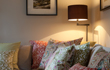 Lounge - patterned cushions and lamp