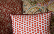 Red patterned cushions