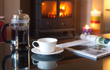 Home comforts - coffee in front of the fire